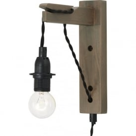 WYNDHAM easy fit plug in wall light in grey washed wood