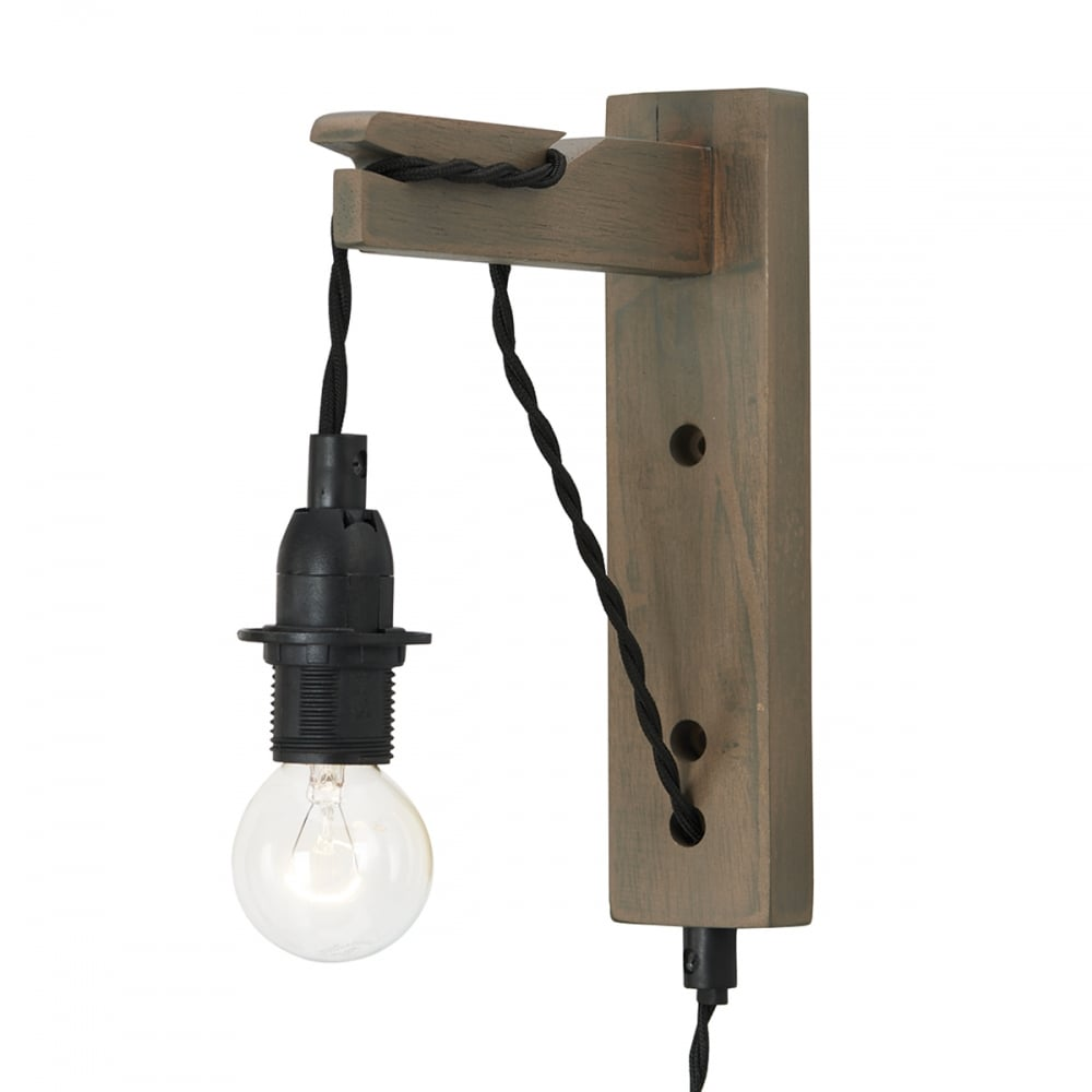 Hanging Dark Wooden Wall Light on Black Braid Cable, Plugs ...