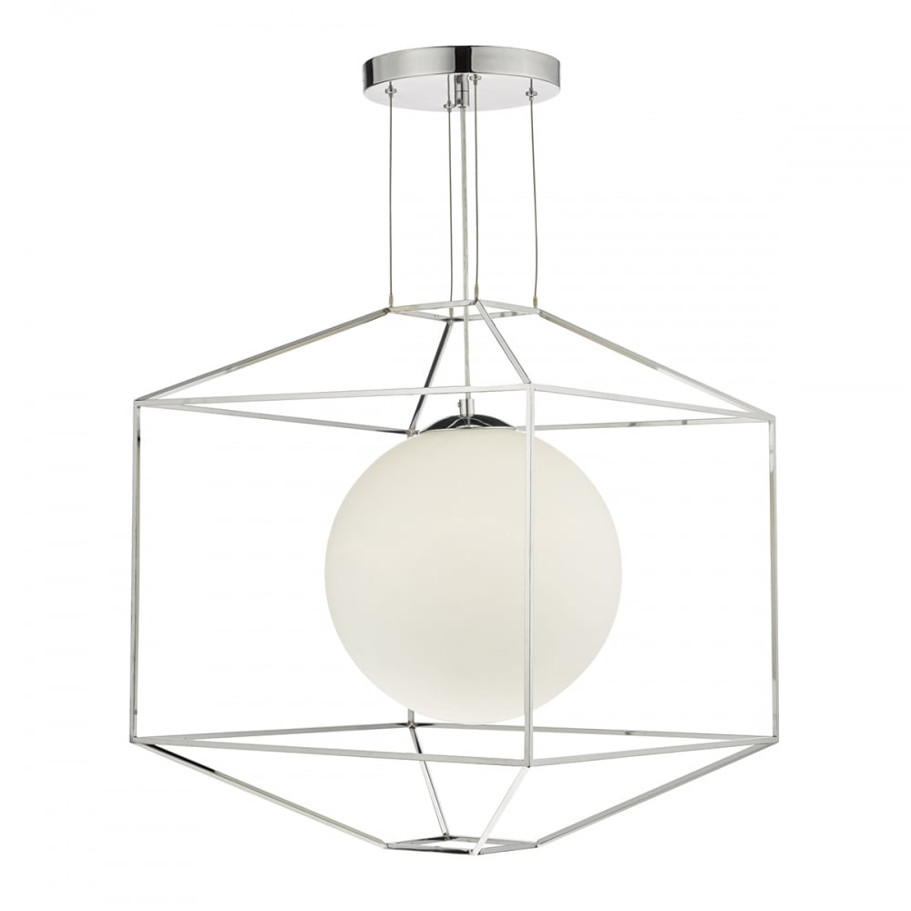 Ceiling Pendant Light With Opal Globe Shade And Chrome