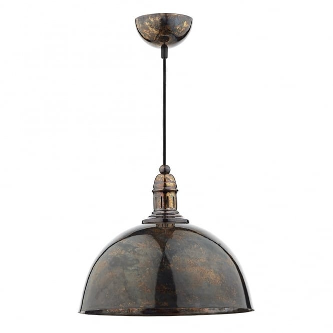 Cambridge Lighting YOKO double insulated mottled bronze ceiling pendant light with vintage braid cable