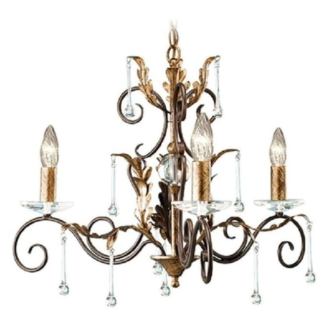 Chester Collection AMARILLI 3 light dual mount traditional chandelier - bronze/gold