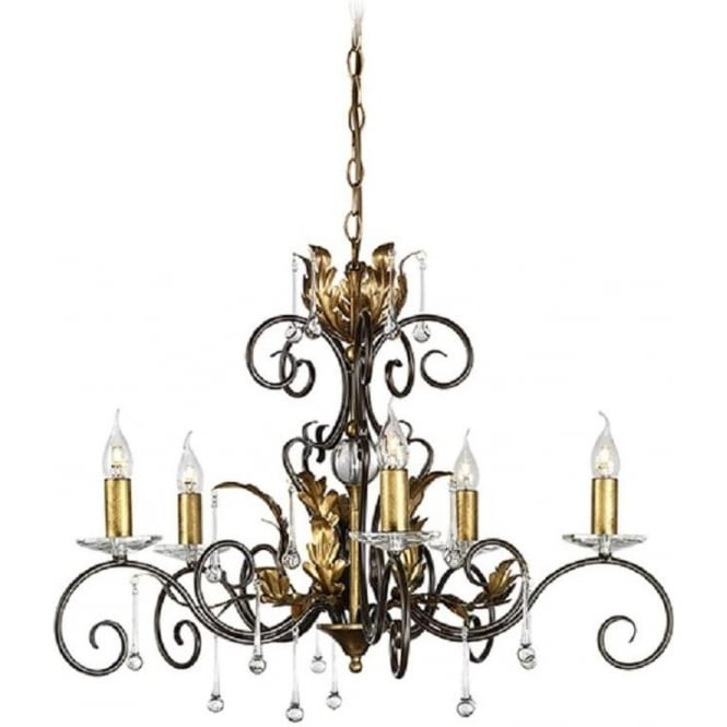 Chester Collection AMARILLI 5 light traditional chandelier - bronze/gold