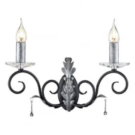AMARILLI double traditional candle style wall light - black/silver