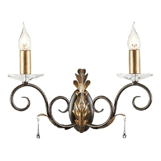 Double Candle Wall Light with Bronze Arms and Gold Oak Leaf Detailing