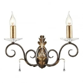 AMARILLI double traditional candle style wall light - bronze/gold