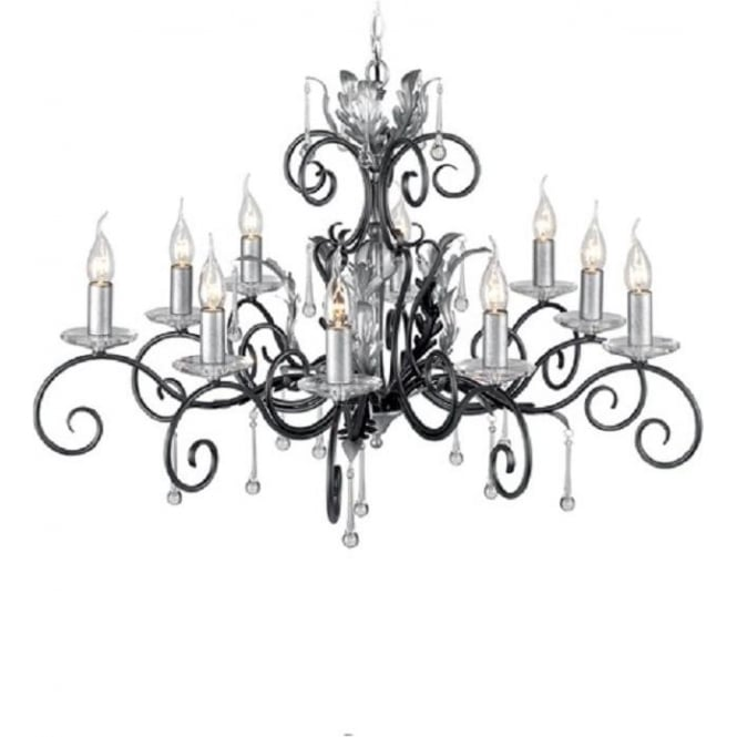 Chester Collection AMARILLI large 10 light traditional chandelier - black/silver
