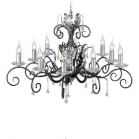AMARILLI large 10 light traditional chandelier - black/silver