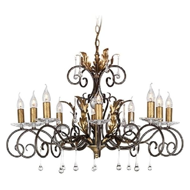 Chester Collection AMARILLI large 10 light traditional chandelier - bronze/gold