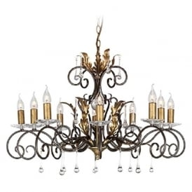 AMARILLI large 10 light traditional chandelier - bronze/gold