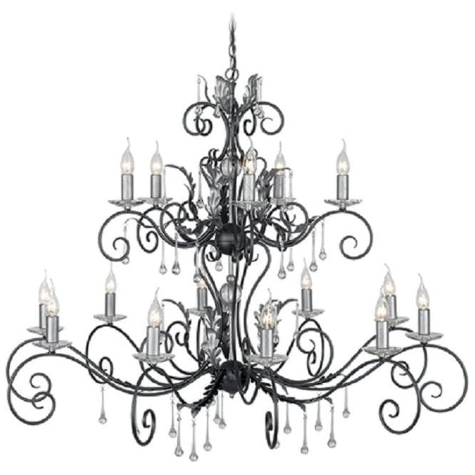 Chester Collection AMARILLI large 15 light traditional chandelier - black/silver