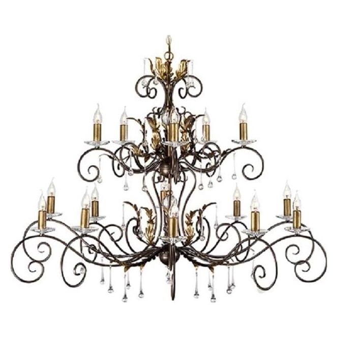 Chester Collection AMARILLI large 15 light traditional chandelier - bronze/gold