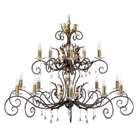 AMARILLI large 15 light traditional chandelier - bronze/gold