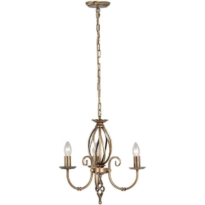 Chester Collection ARTISAN dual mount traditional 3 arm ceiling light - aged brass