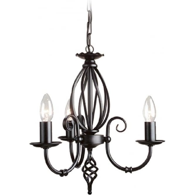 Chester Collection ARTISAN dual mount traditional 3 arm ceiling light - black