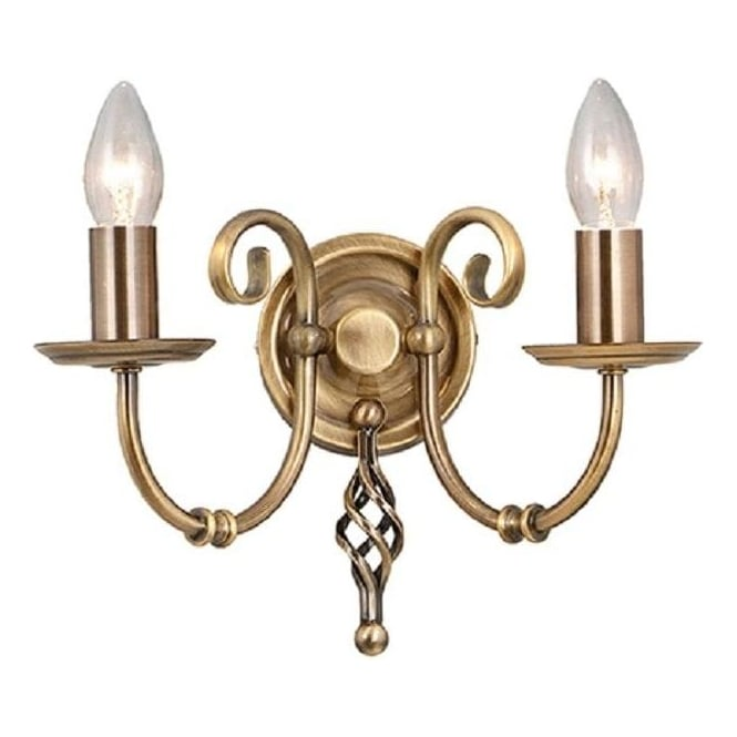 Traditional Candle Style Wall Light in Antique Brass with Scrolls