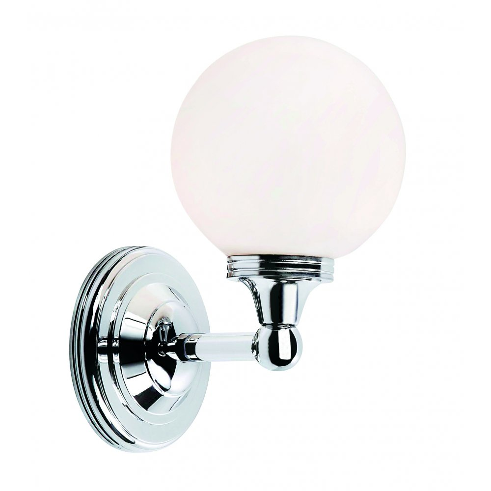 Traditional Chrome Wall Lights : Traditional Period Bathroom Wall Light, Opal Globe Glass Shade