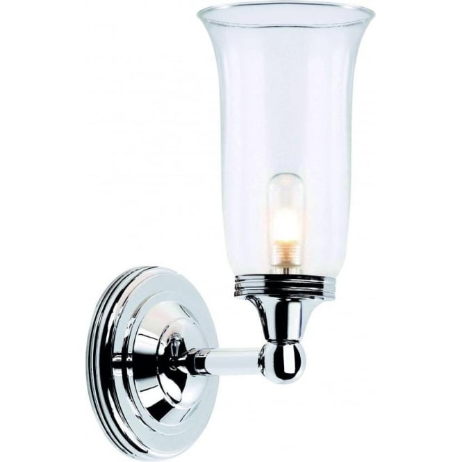 Traditional period style bathroom wall light storm glass shade ip44 austen traditional ip44 chrome bathroom wall light aloadofball Images