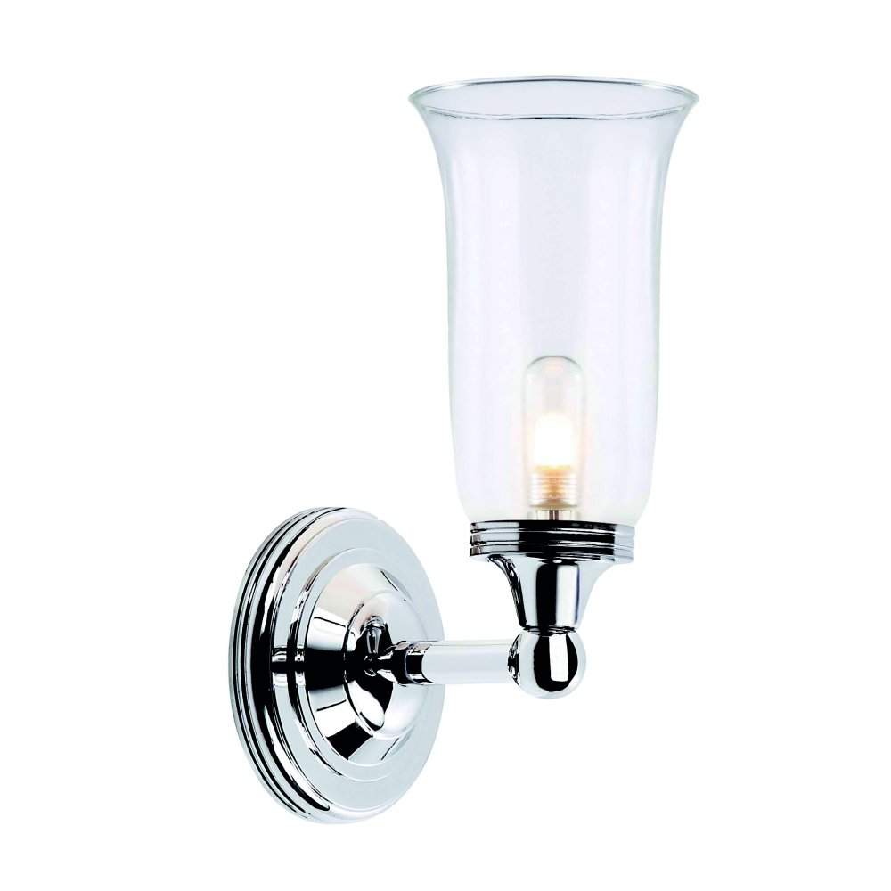 Traditional Period Style Bathroom Wall Light Storm Glass Shade Ip44