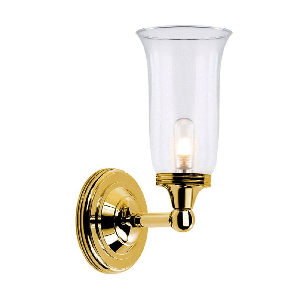 Polished brass bathroom wall light with storm glass shade for Gold bathroom wall lights