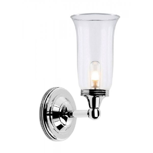 Nickel Bathroom Wall Light with Storm Glass Shade for Traditional Rooms