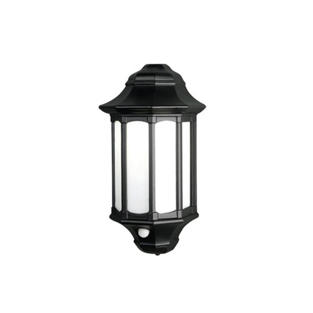 Low Energy Exterior Wall Lights : Traditional Black Low Energy Security Lantern, Flush Fitting with PIR