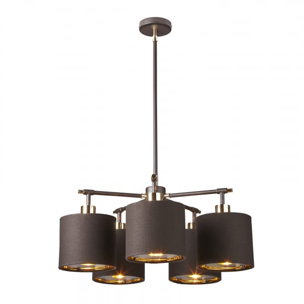 Contemporary Dark Brown Ceiling Light With Gold Lined