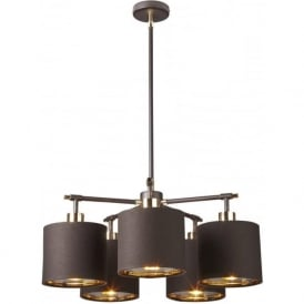 BALANCE modern dark brown ceiling light with brass detailing