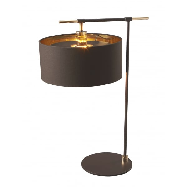 Dark brown table lamp with drum shade lined in gold metallic for Brown table lamp shades