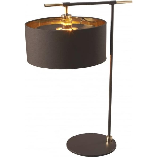 Dark brown table lamp with drum shade lined in gold metallic balance modern dark brown table lamp with brass detailing mozeypictures Image collections