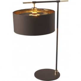 BALANCE modern dark brown table lamp with brass detailing