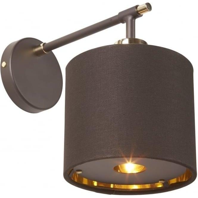 Retro Design Chocolate Brown Single Wall Light with Brass Detaling