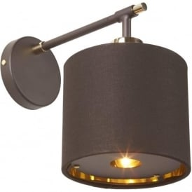 BALANCE modern dark brown wall light with brass detailing