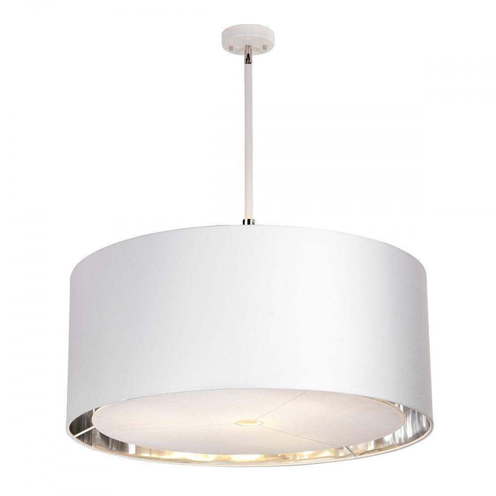 Balance modern white ceiling pendant light with nickel detailing xlarge