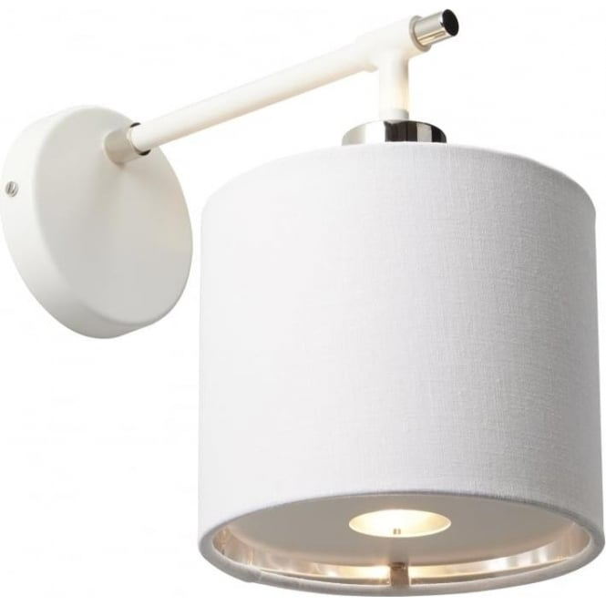 Chester Collection BALANCE modern white wall light with nickel detailing