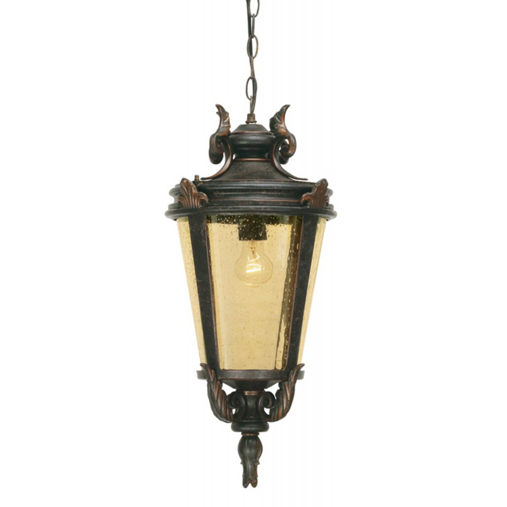 Outdoor Pendant Porch Light Uk: Exterior Hanging Porch Lantern In Traditional Weathered Bronze