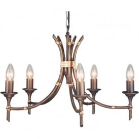 BAMBOO 5 light bronze chandelier with dual mount facility