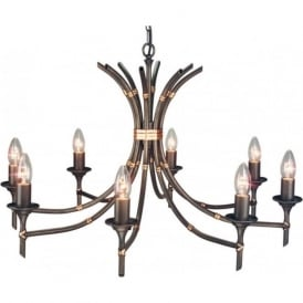 BAMBOO large 8 light bronze chandelier, dual mount facility