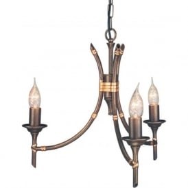 BAMBOO small bronze chandelier with dual mount facility