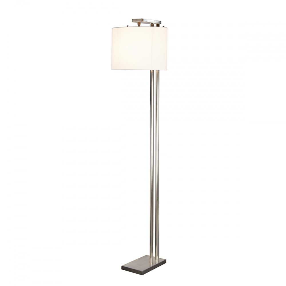 Modern Minimalist Design Floor Lamp In Brushed Nickel With White Shade