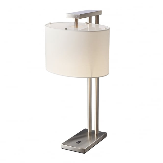 Chester Collection BELMONT contemporary brushed nickel table lamp with white shade