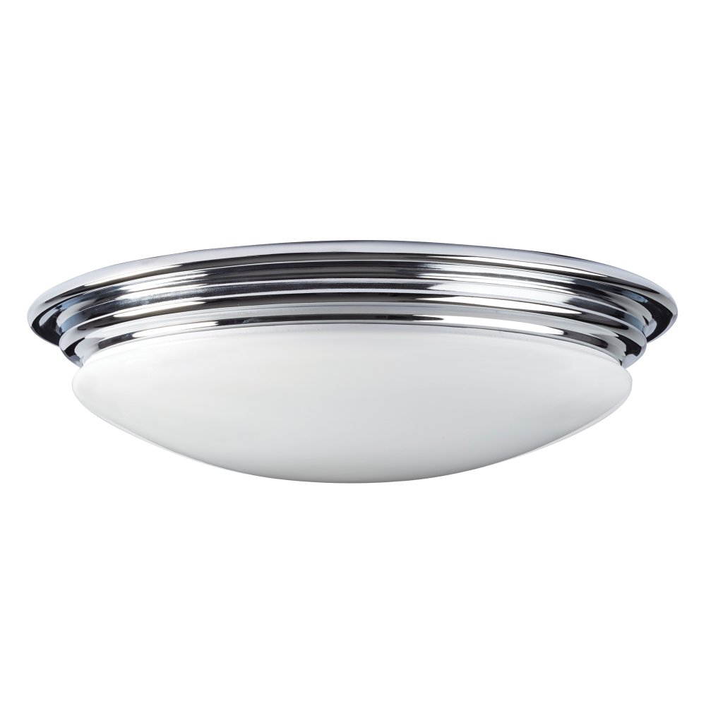 Led Flush Fitting Bathroom Ceiling Light Opal Glass With Chrome Ring