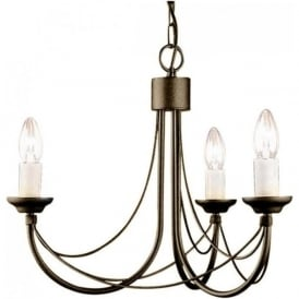 CARISBROOKE 3 light Gothic style chandelier - black/gold