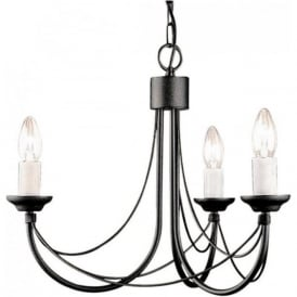 CARISBROOKE 3 light Gothic style chandelier - black