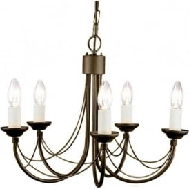 CARISBROOKE 5 light Gothic style chandelier - black/gold