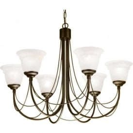 CARISBROOKE 6 light Gothic style chandelier - black/gold