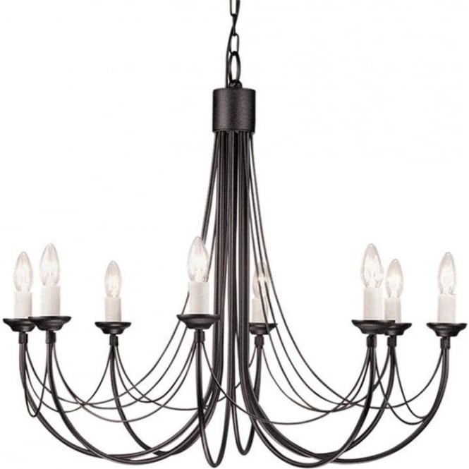 Chester Collection CARISBROOKE 8 light Gothic style chandelier - black