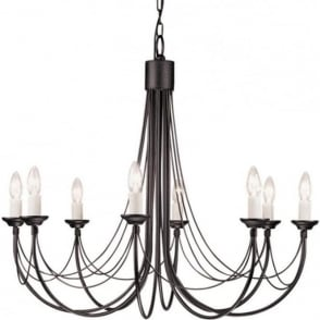Medieval gothic chandelier in black finish with 12 candle style lights carisbrooke 8 light gothic style chandelier black aloadofball Gallery