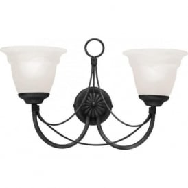 CARISBROOKE black Gothic style twin wall light