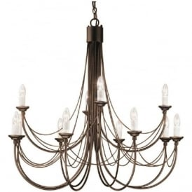 CARISBROOKE large 12 light Gothic style chandelier - black/gold