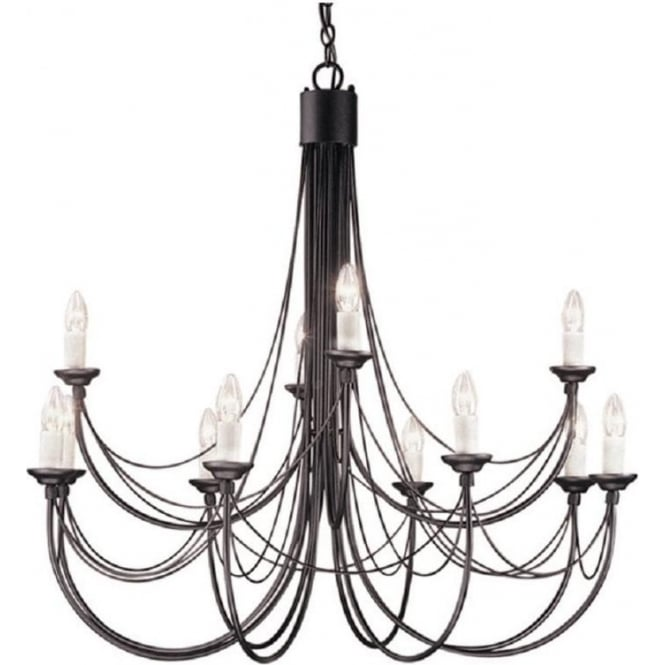 Medieval gothic chandelier in black finish with 12 candle style lights carisbrooke large 12 light gothic style chandelier black mozeypictures Gallery